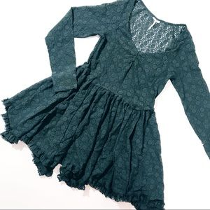 • Free People Forest Green Lace Dress Size M •